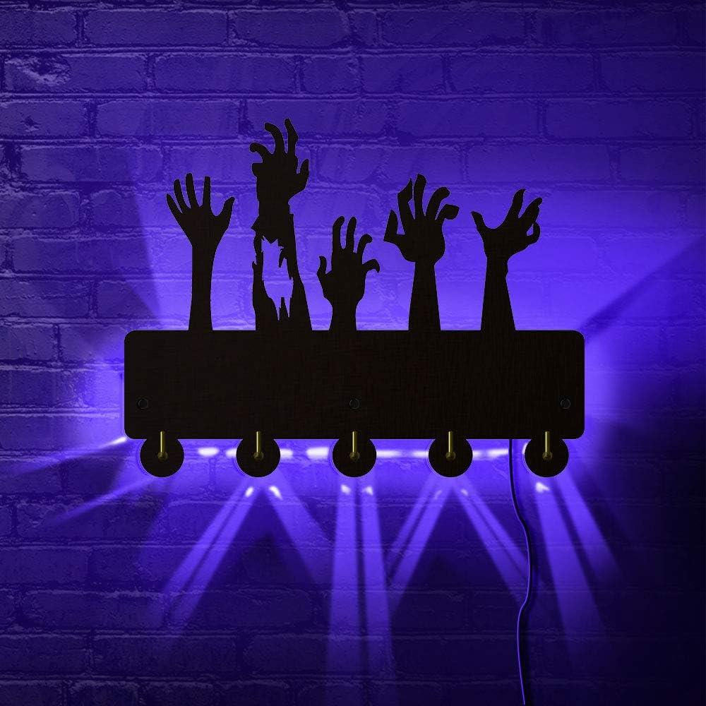 Creative Zombie Hands Terror Atmosphere Design Household Decor Coat Bags Clothes Hook Hanger Keys Holder with LED Backlight Gift