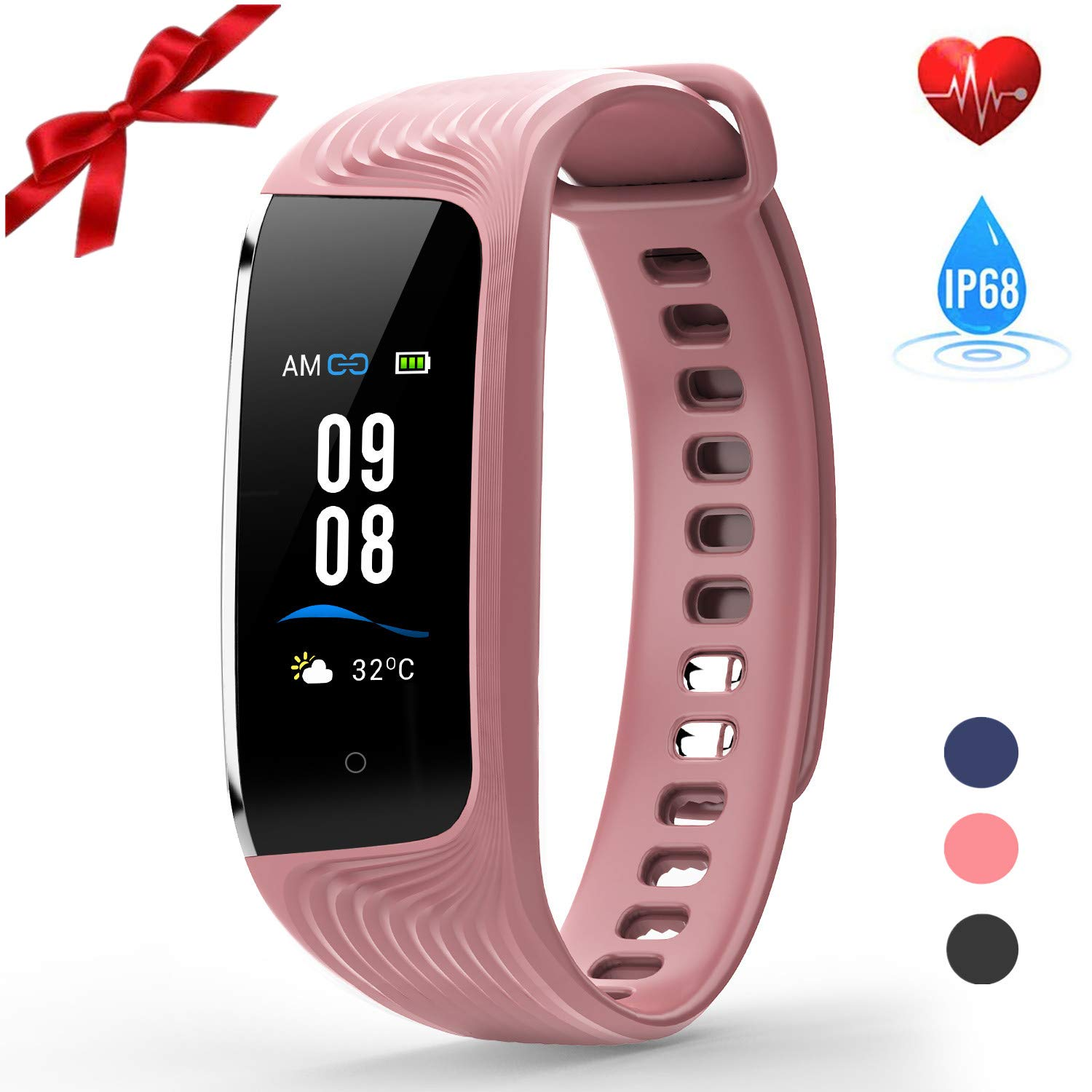 HONITURE Waterproof Fitness Tracker, Heart Rate Monitor Colour Screen Activity Tracker with Step Calorie Counter, GPS Pedometer, Slim Smart Bracelet for Kids Women Men