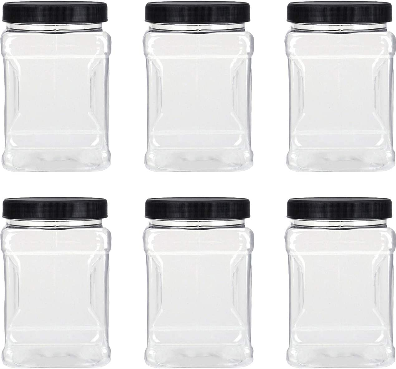 Lawei 6 Pack Clear Plastic Jars with Lids - 32 Oz Square Plastic Jars Containers with Easy Grip Handles Plastic Storage Jars for Dry Goods Cookies Candy and more…
