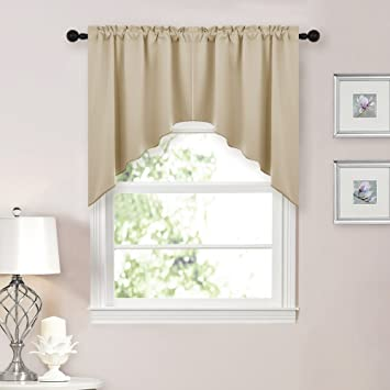 NICETOWN Room Darkening Rod Pocket Kitchen Tier Curtains  Tailored  Scalloped Valance /Swags (2