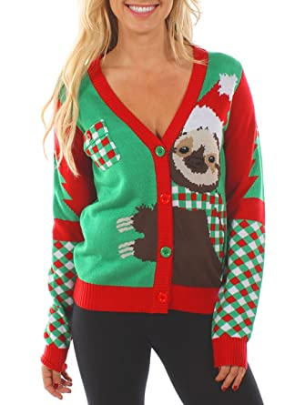 a91f967c1bcc Women's Sloth Ugly Christmas Sweater - Cute Holiday Cardigan at ...