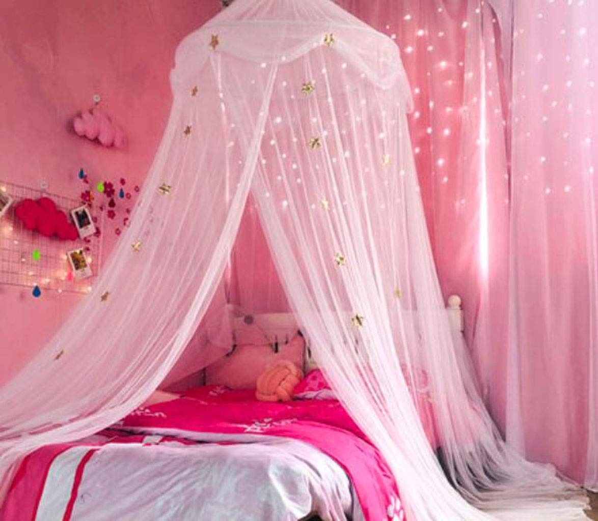 JBHURF Children's Mosquito Net Canopy Pink Princess Dome Mosquito Ceiling Free Installation Bed 幔 Suitable for Household Bedroom Children's Bed (Color : Pink 3) by JBHURF