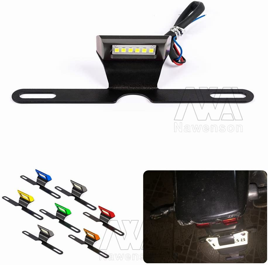 Blue Motorcycle License Number Plate Holder Mount Bracket Registration Number Plate With White LED Stop Brake Tail Light