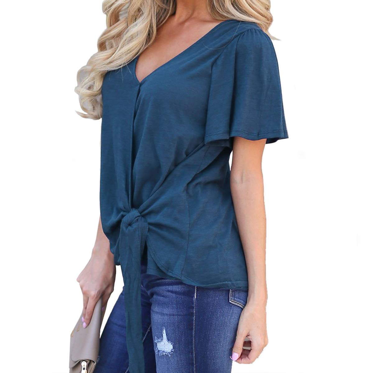 395511349 SHERONV Women's Short Sleeve Tie Knot Wrap V Neck Casual Blouses T Shirt  Tops at Amazon Women's Clothing store: