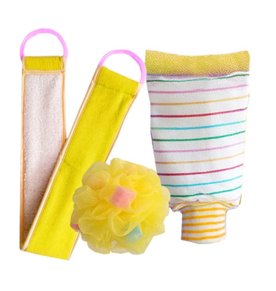 3 PCS Bathroom Accessories for shower,Double Side Scrubbing Strap Bath Sponge,D Black Temptation