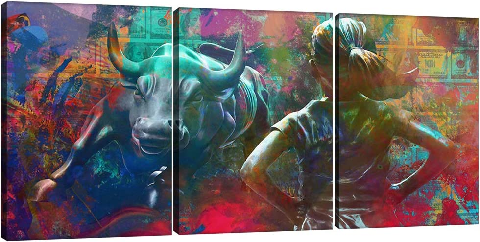 Motivational Wall Art Canvas Print Fearless Girl Wall Street Charging Bull Office Decor 3 Pieces Inspirational Entrepreneurship Quotes Wall Art Prints Poster Picture Decoration Framed - 36