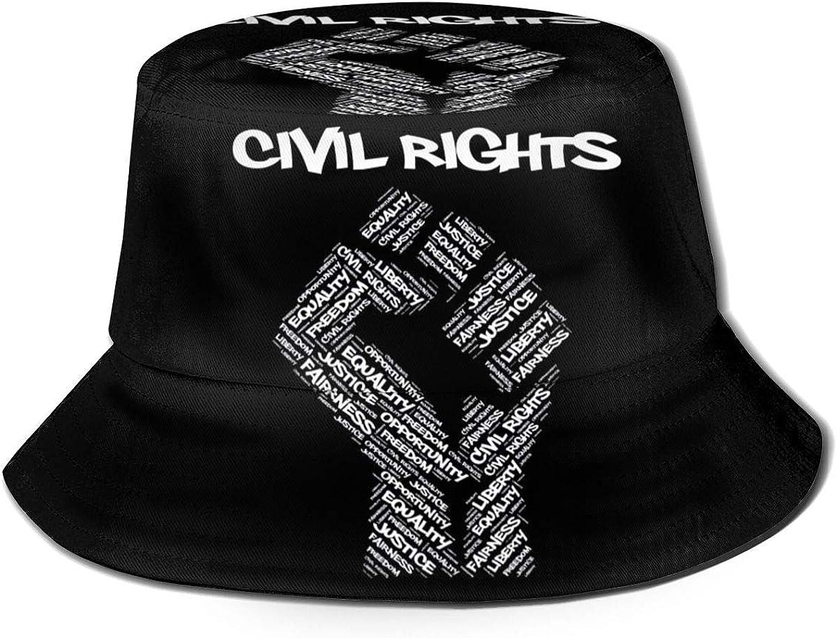 NJ Civil Rights Black Power Fist Justice Unisex Cute Print Bucket Hat Summer Fisherman Cap
