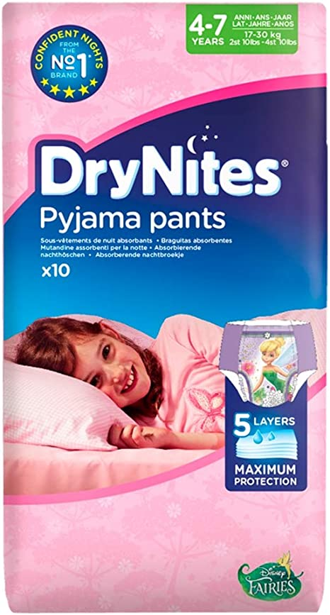 Huggies Drynites/® Pyjama Bed Wetting Pants Girls 4-7 Years 10 Pants
