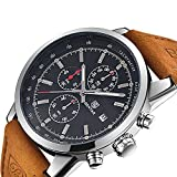 FOVICN Men's  Fashion Business Quartz Watch with Brown Leather Strap Chronograph Waterproof Date Display Analog Sport Wrist Watches, Black