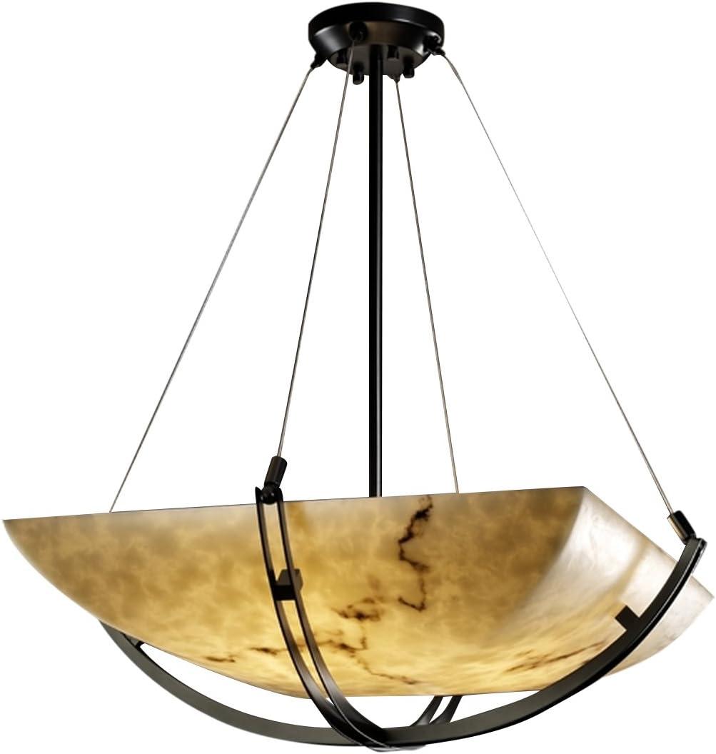 Amazon Com Justice Design Group Lighting Fal 9721 25 Mblk Led3 3000 Lumenaria Crossbar 22 Pendant Square Bowl Shade Matte Black Faux Alabaster Led Home Improvement
