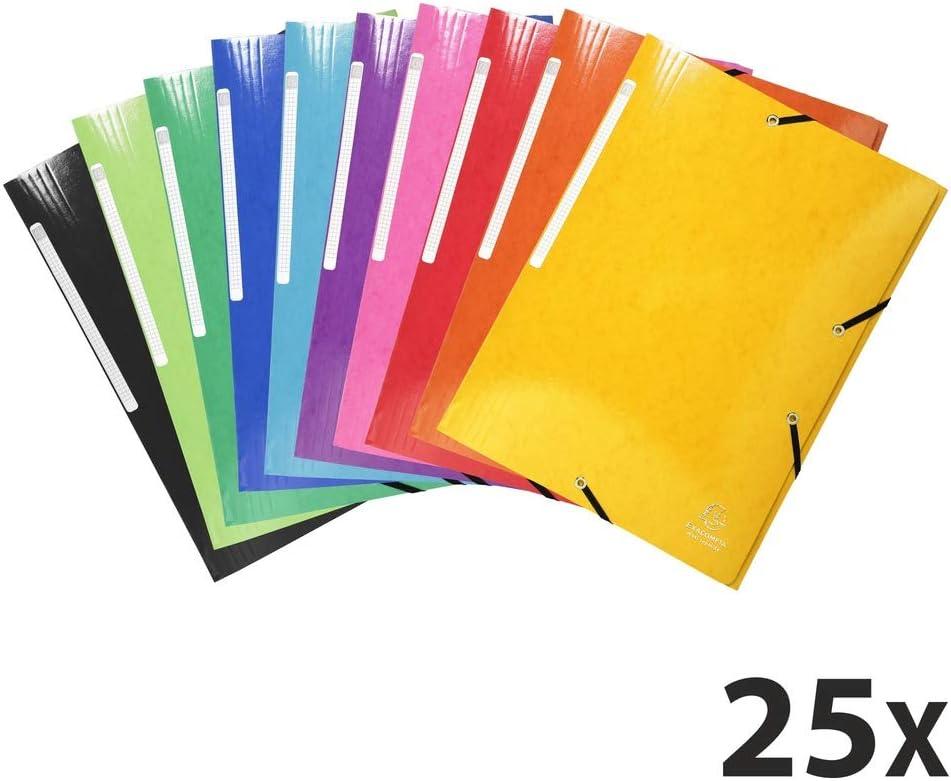Exacompta 55829E - Pack de 25 carpetas con goma, A4, multicolor ...