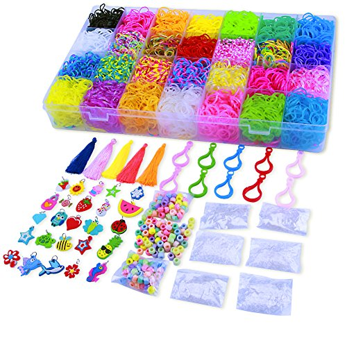 11000 Pcs Colorful Rainbow Rubber Bands Refill Kit Set Box - Loom Bands Large Storage Container , Over 10000 Premium Loom Bands In Different Nice Colors , 600 S Clips , 25 Charms And 200 Beads by Pengxuan