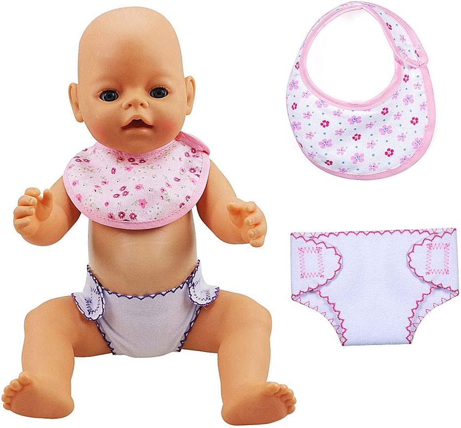 Doll Accessories Set for 18 Dolls ZOEON Baby Doll Bibs and Nappies Pack of 4 40-45cm