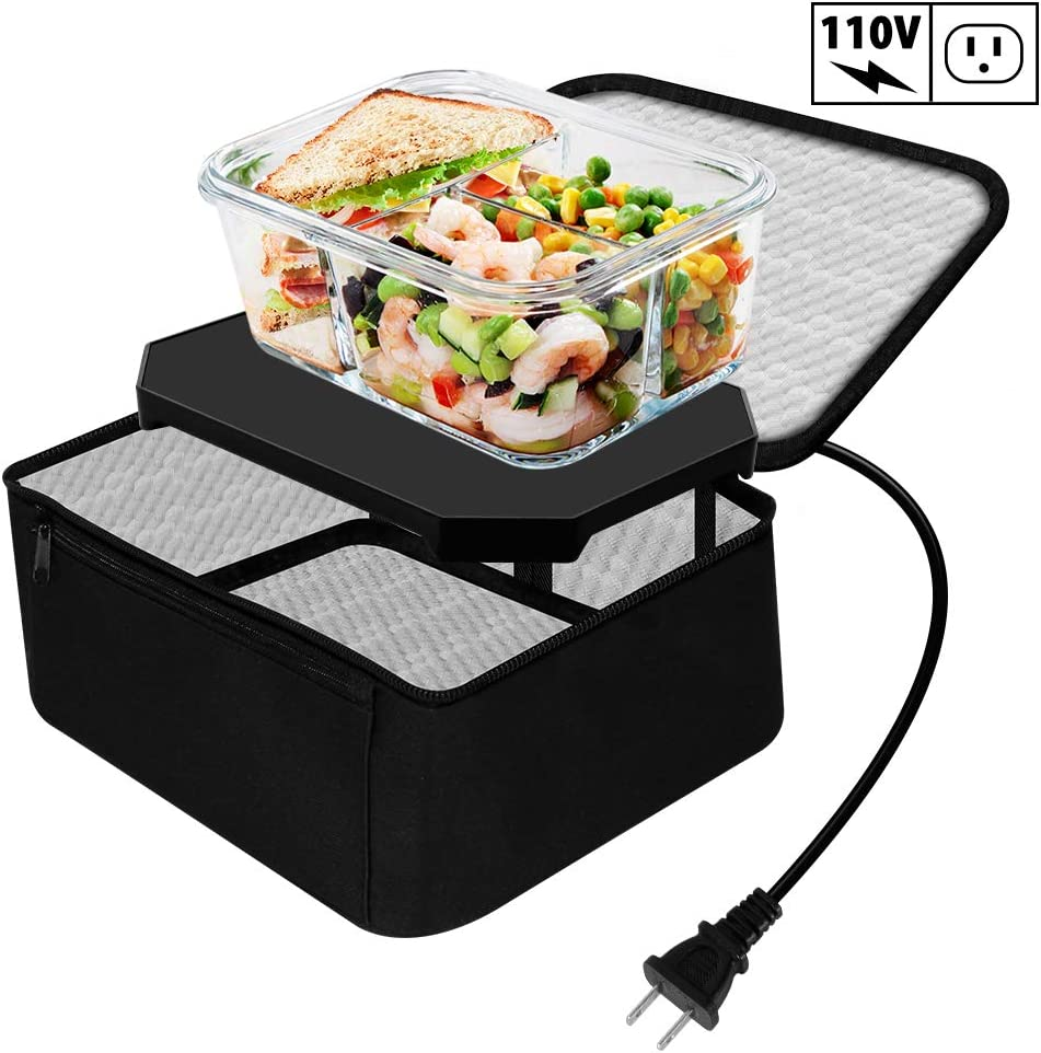 TrianglePatt Personal Portable Oven, Electric Slow Cooker for Food,Mini Oven for Meals Reheat,Food Warmer with Lunch Bag(110V)