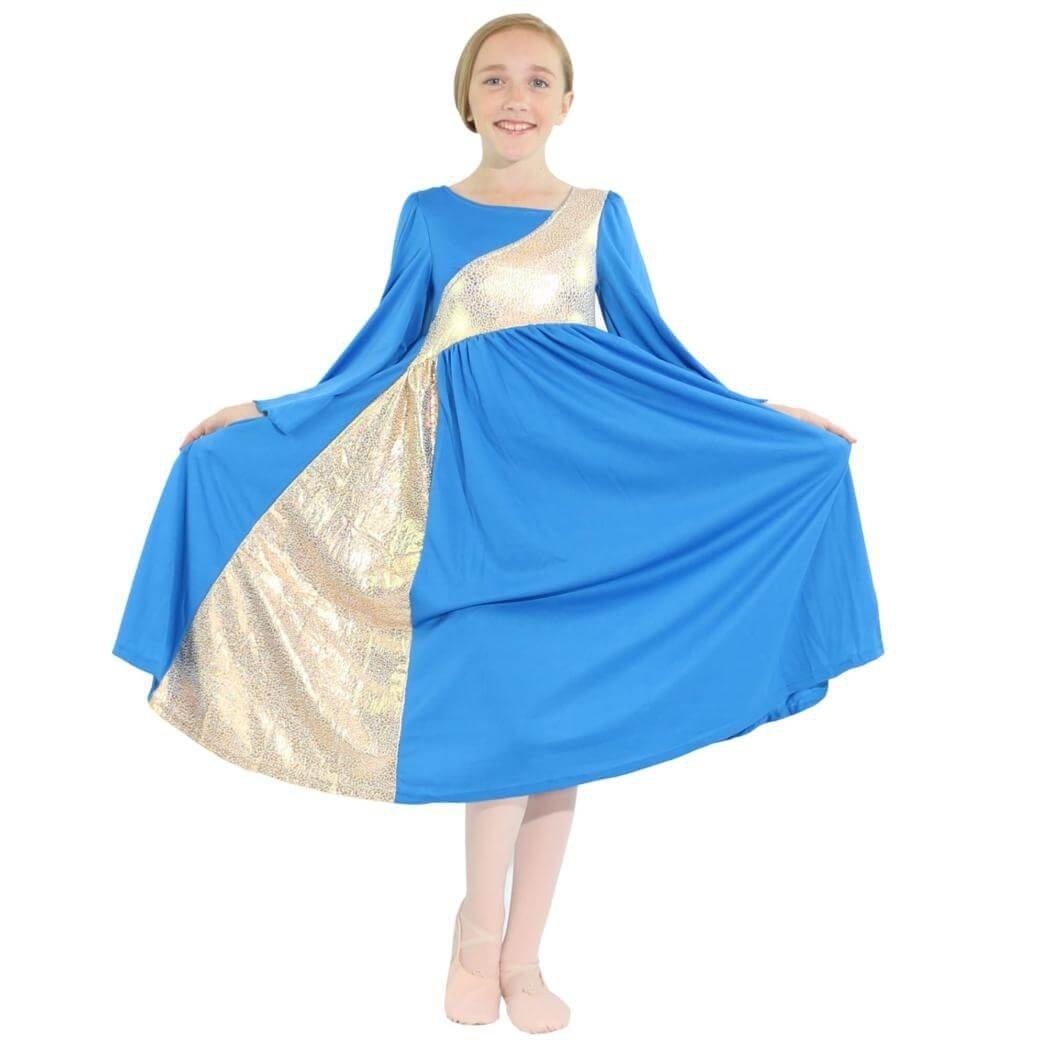 c4248eb131ce Danzcue Girls Shimmery Asymmetrical Bell Sleeve Dance Dress (6X-7-Child,  Bright Royal-Gold)