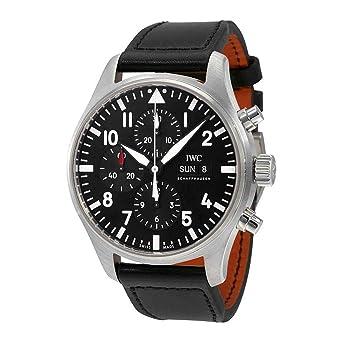 2caf2c175eef Amazon.com  IWC Pilot Black Automatic Chronograph Mens Watch ...