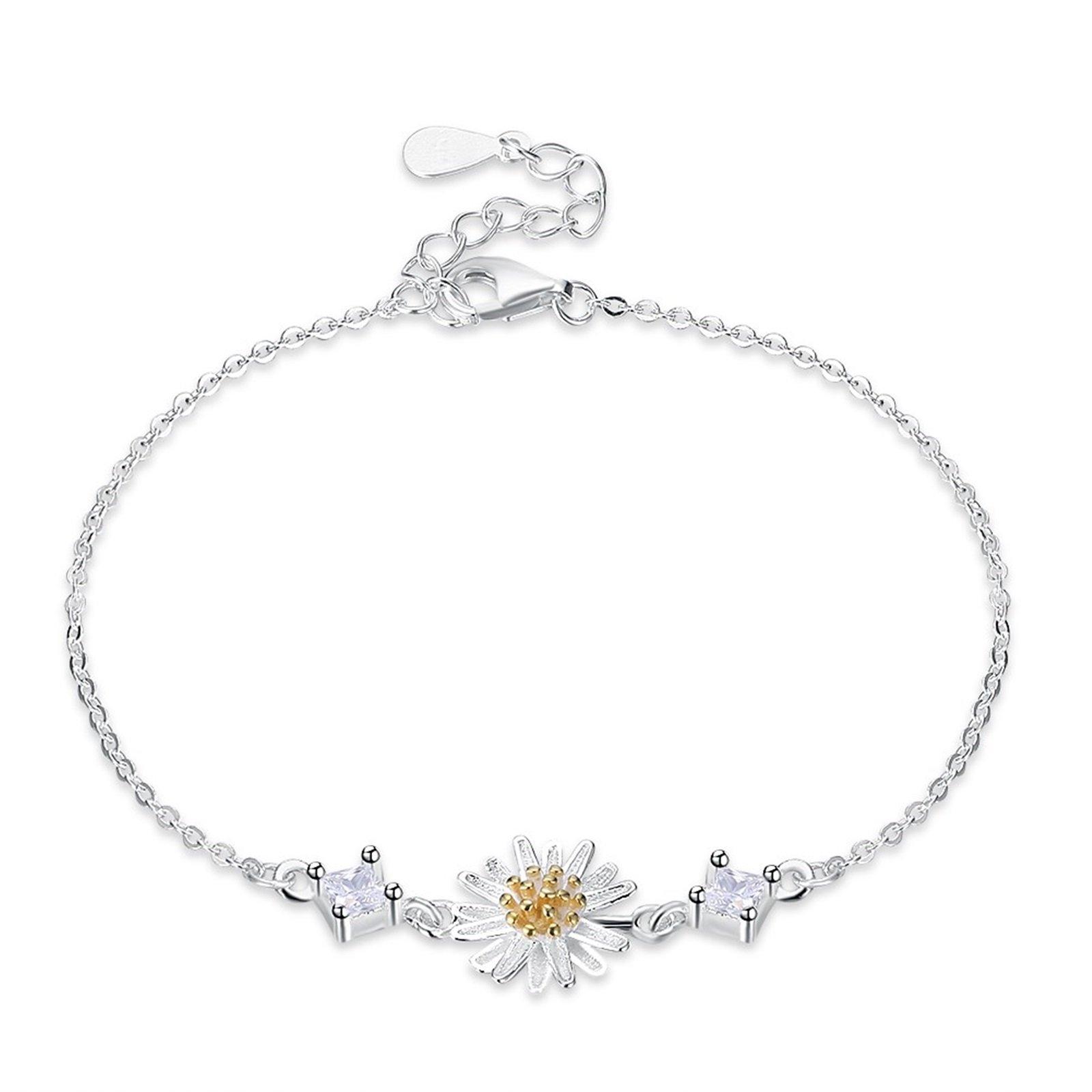 KnSam Sterling Silver Bracelet for Women Daisy White Chain Length£º 16.5+3.5CM