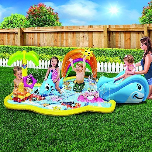 Kid's Summer Fun Backyard Play Toddler Banzai Baby Sprinkles Splish Splash Water Park Sprinkling Activity Center