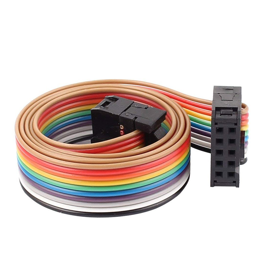 Yohii 2.54mm Pitch 10Pin 10 Way F/F Wire Rainbow Color IDC Connector Flat Rainbow Cable 48cm
