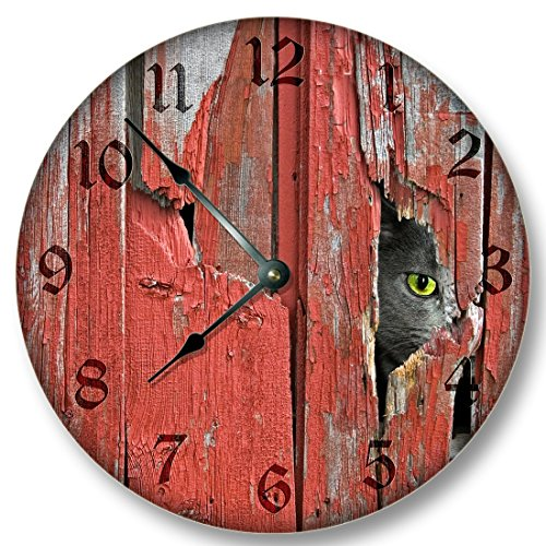 Metal Clock Wall Cat (Old Red Barn Boards with Barn Cat pattern WALL CLOCK rustic cabin country wall home decor)