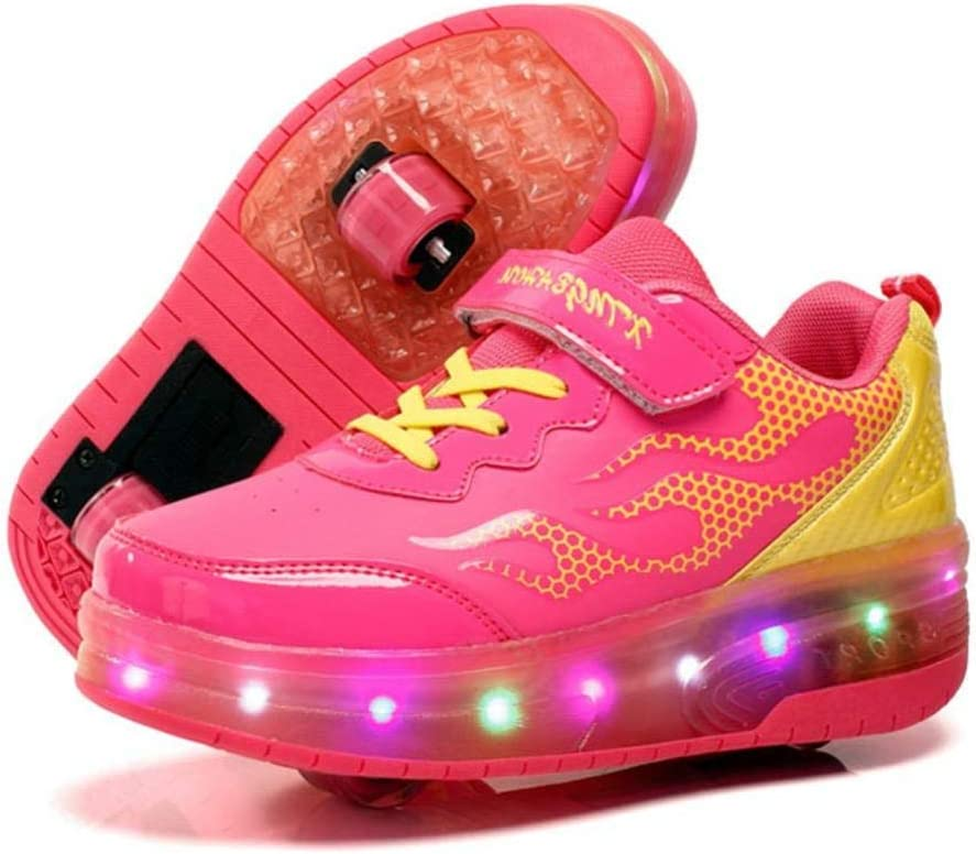 Kids Led Roller Shoes Single Wheels Retractable Skateboarding Rollerblades Vibration Illuminate Outdoor Unisex Pulley Shoes Gymnastic Sneakers,Pink,9UK
