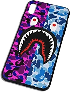 Trikahan Bape Shark Teeth Hardshell Silicone Case for iPhone X/15/Xs Max/Xr with Matte Finish Hypebeast iPhone Case