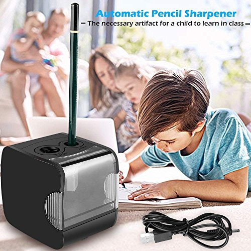 Electric Pencil Sharpener, AOFU USB Double Hole Battery Operated Heavy Duty Sharpener for kids, School and Office(Black)-07 by AOFU (Image #3)