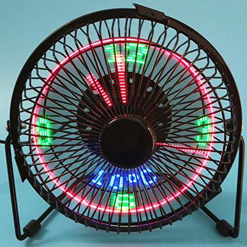 Sykdybz Desktop Fan Mini Usb Charging Led Desk Lamp Air Conditioning Fan Iron Art Clock Table Fan by Sykdybz
