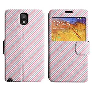 Be-Star Colorful Printed Design Slim PU Leather View Window Stand Flip Cover Case For Samsung Galaxy Note 3 III / N9000 / N9005 ( Pink Diagonal Lines ) Kimberly Kurzendoerfer