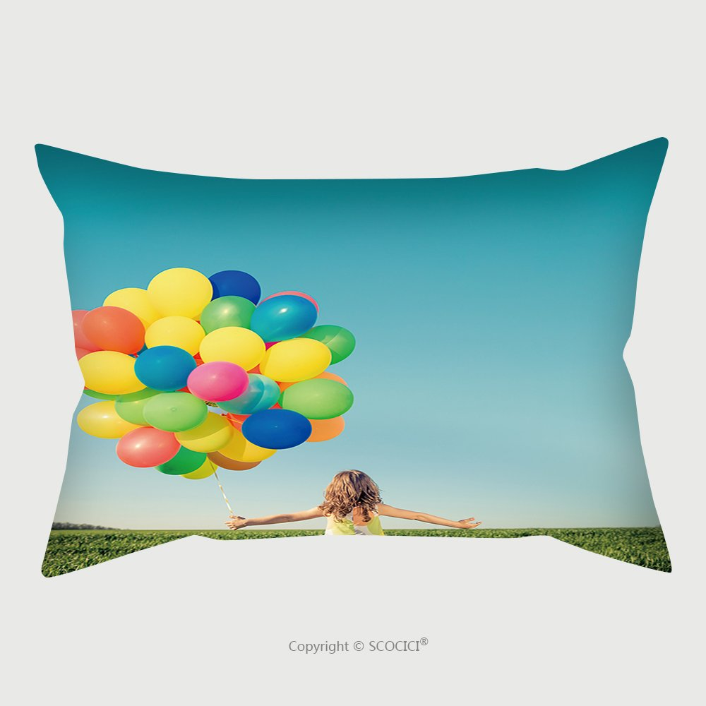 Custom Satin Pillowcase Protector Happy Child Playing With Bright Multicolor Balloons Outdoor_73190357 Pillow Case Covers Decorative