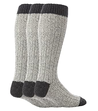 a08904e3566dd Workforce - 3 Pairs Mens Extra Long Knee High Thick Warm Wool Rich Knitted  Boot Socks