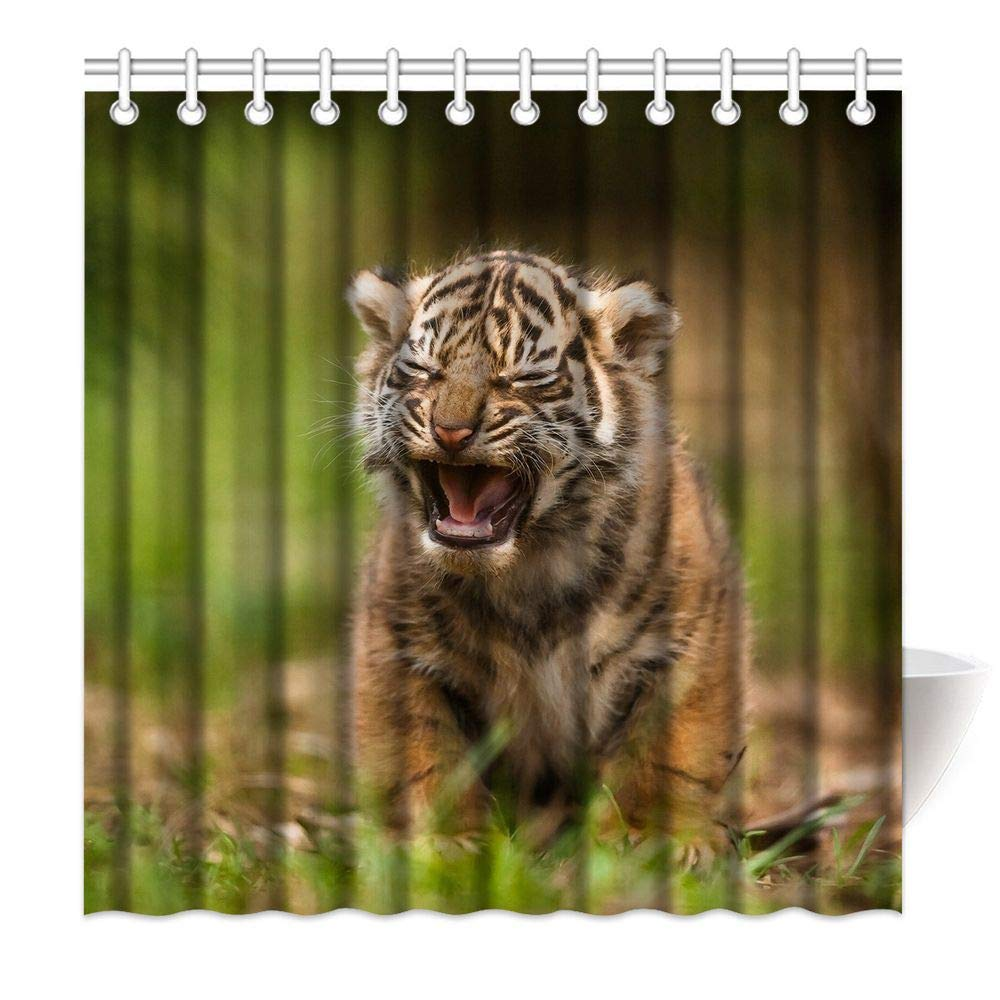 HommomH 72 x 72 Inch Tiger Cub Shower Curtain Fabric Bathroom Decor Set with Hooks Squinting Sad Expression Cute by HommomH