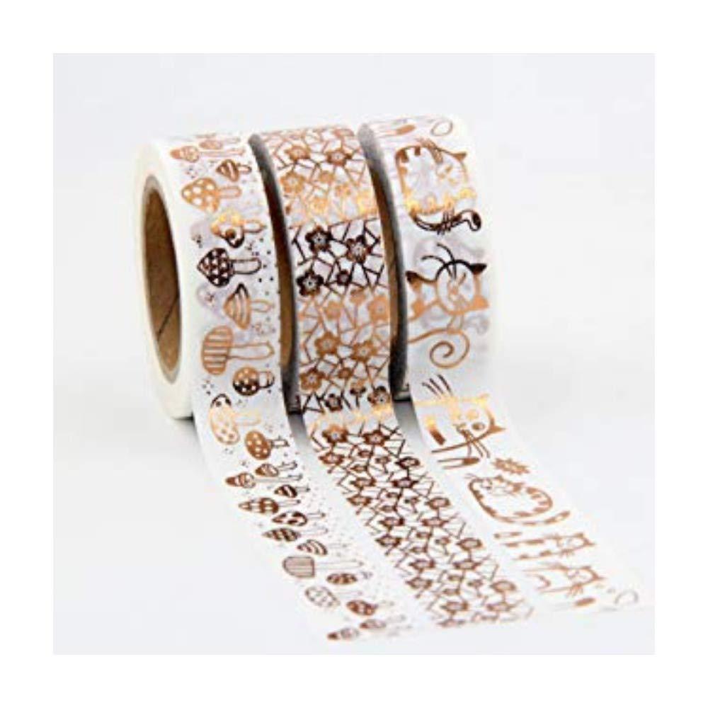 Set di 3washi tape. con decorazioni color rame/rosa antico, per decorazioni fai da te unbranded