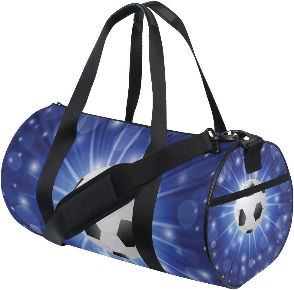 MIFSOIAVV Travel Duffel Bag Colorful Illustration Soccer Ball On Blue Sports Lightweight Canvas Gym Luggage Handbag Overnight Weekend Bag for Men Women