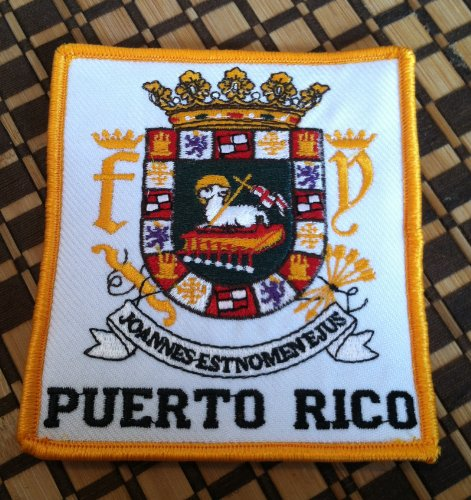 Puerto Rico Escudo Embroidery Iron-on Patch Boricua Emblem Gold Border