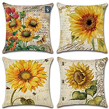 Amazon Wendana Sunflower Throw Pillow Covers 400 X 400 Set Of 40 Awesome Sunflower Decorative Pillows