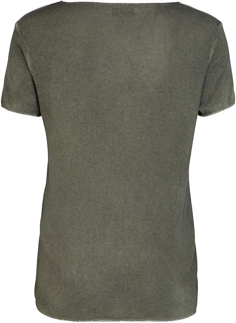 Damenshirt Kurzarm Sommer Shirt Longsleeve modisch Damen T-Shirt Feinstrick mit Lurexkante