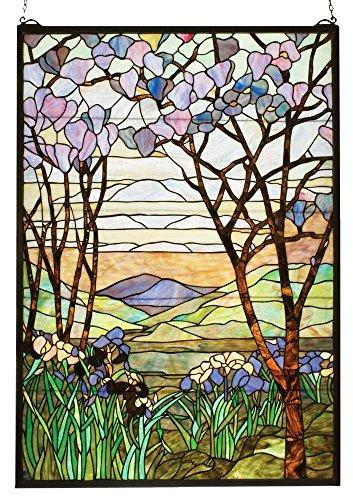 Meyda Tiffany 12514 Tiffany Magnolia & Iris Stained Glass Window, 29