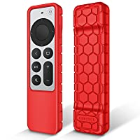 Fintie Protective Case for Apple TV Siri Remote 2021 - Honey Comb Lightweight Anti Slip Shockproof Silicone Cover for Apple TV 4K / HD Siri Remote Controller (2nd Generation), Red