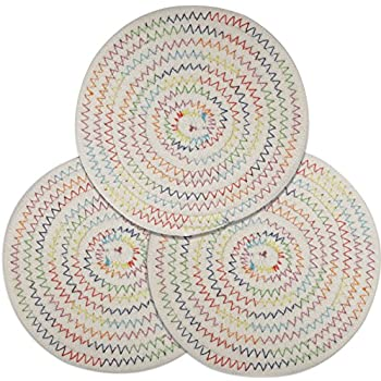 Lifaith 100% Cotton Thread Weave Pot Holders, Hot Pads, Pot Holders, Spoon Rest, Jar Opener & Coasters, for Cooking and Baking, Diameter 7 Inches, Round, Set of 3, White