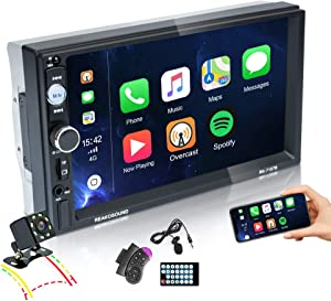EKAT Double Din Car Stereo 7Inch Touchscreen with Bluetooth CarPlay Car Radio with TF/USB/AUX Port,Phone Mirror Link,Steering Wheel Controls,Video Output,External Microphone+ Rear View Camera