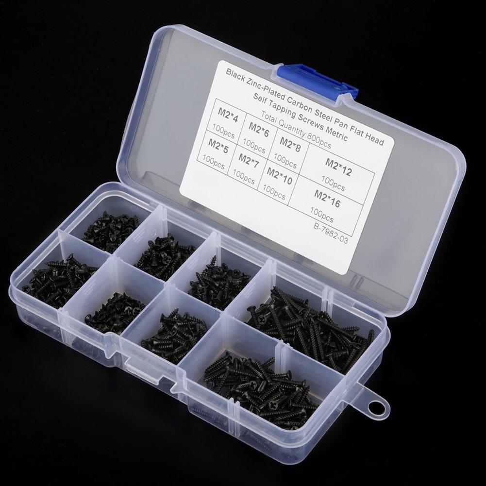 800 Unids M2 Negro Surtido de Tornillos de Acero al Carbono Surtido Kit Avellanado Cabeza Cruzada con Caja de Almacenamiento