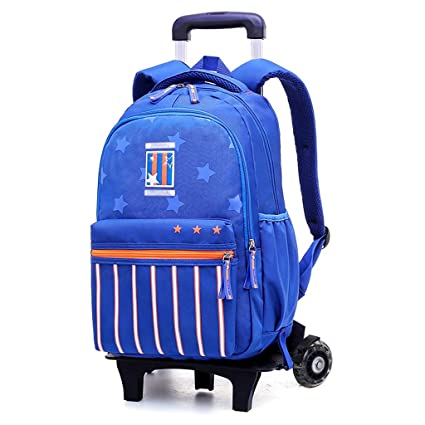 C-Xka Six-Wheel Flashing Pull Bag Rolling School Bag Nylon Waterproof  Rolling Backpack b2cdaed33d8cb