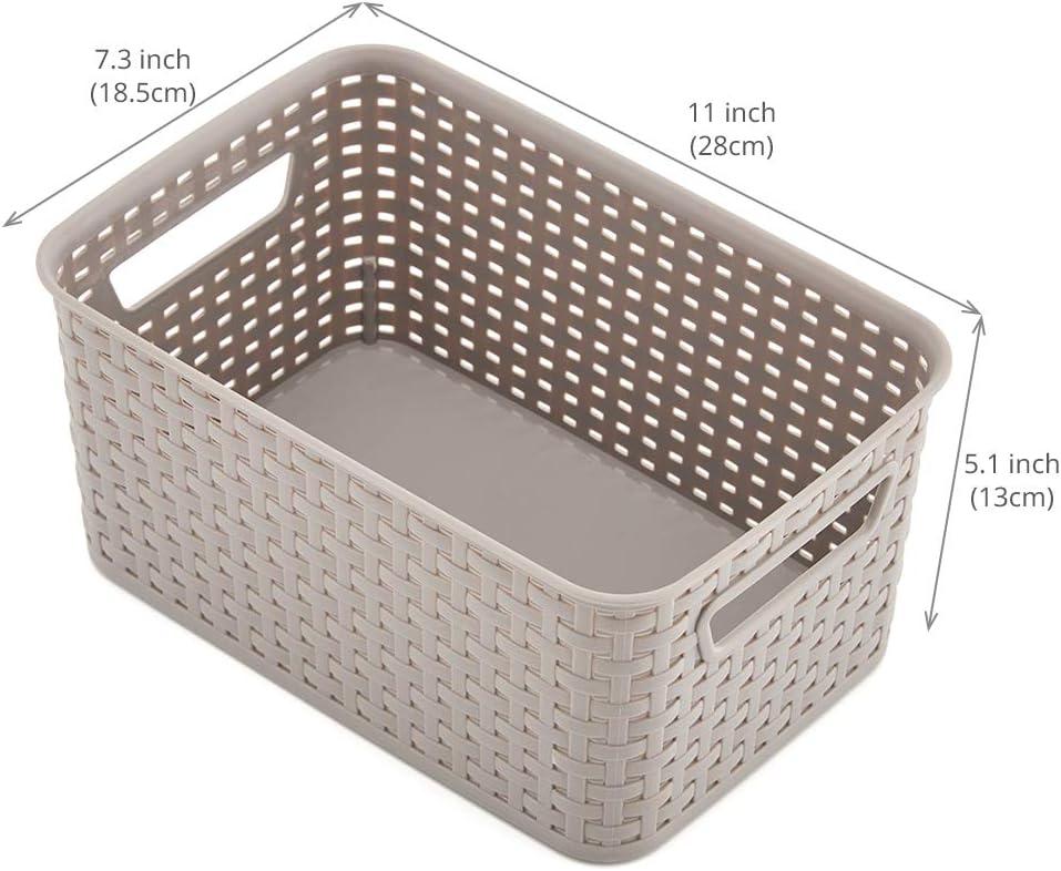 EZOWare 4 pcs Cestas de Almacenaje Multiuso, Cajas Organizadoras de Plástico con Efecto de Mimbre y Asas para Cocina, Baño - Gris: Amazon.es: Hogar