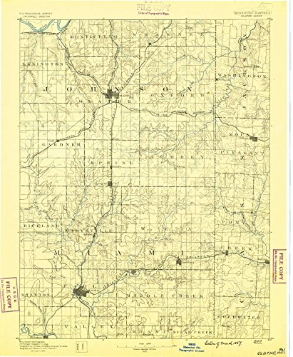 Olathe KS topo map, 1:125000 scale, 30 X 30 Minute, Historical, 1887, 19.5 x 16.1 IN - - Oakridge Center