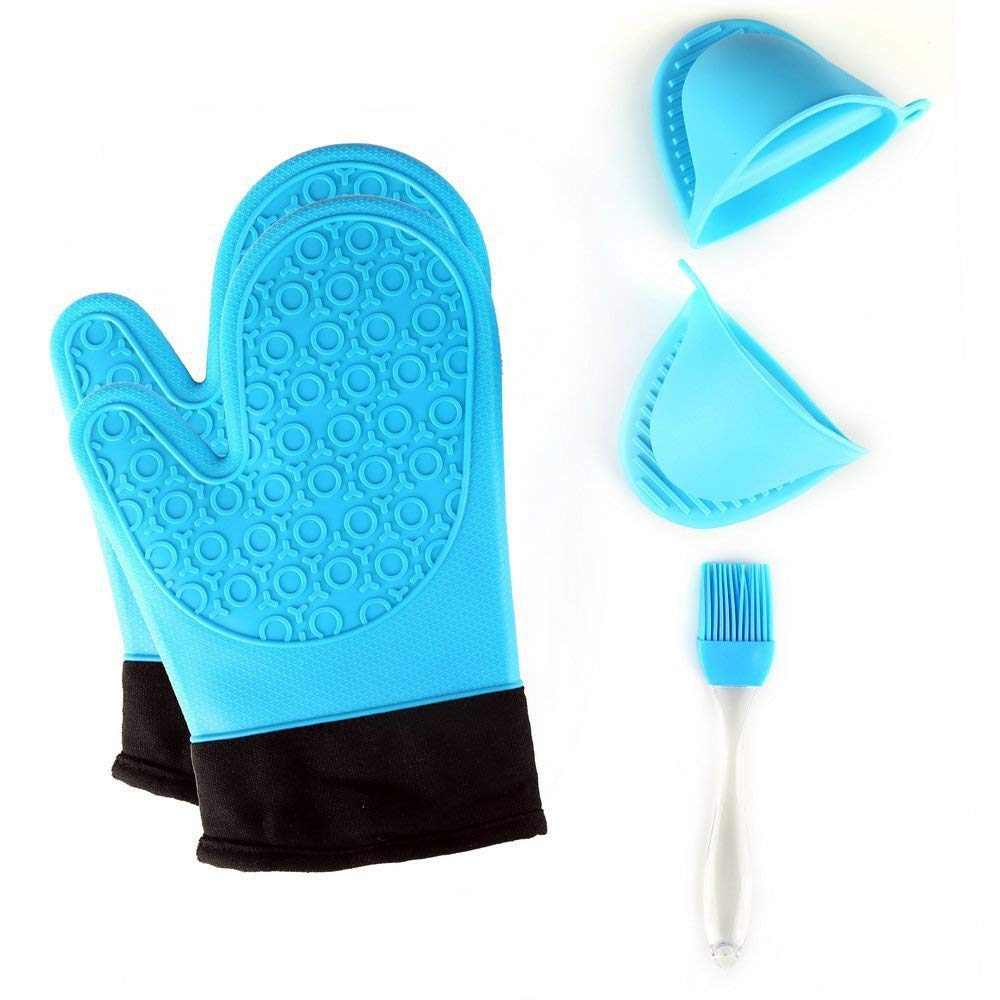 TOPBRY Heat Resistant Silicone Oven Gloves Non-Slip(1 Pair) for Kitchen Grilling Cooking and Baking& 2 Free BONUS Items - Brush & Pot Holder (blue)