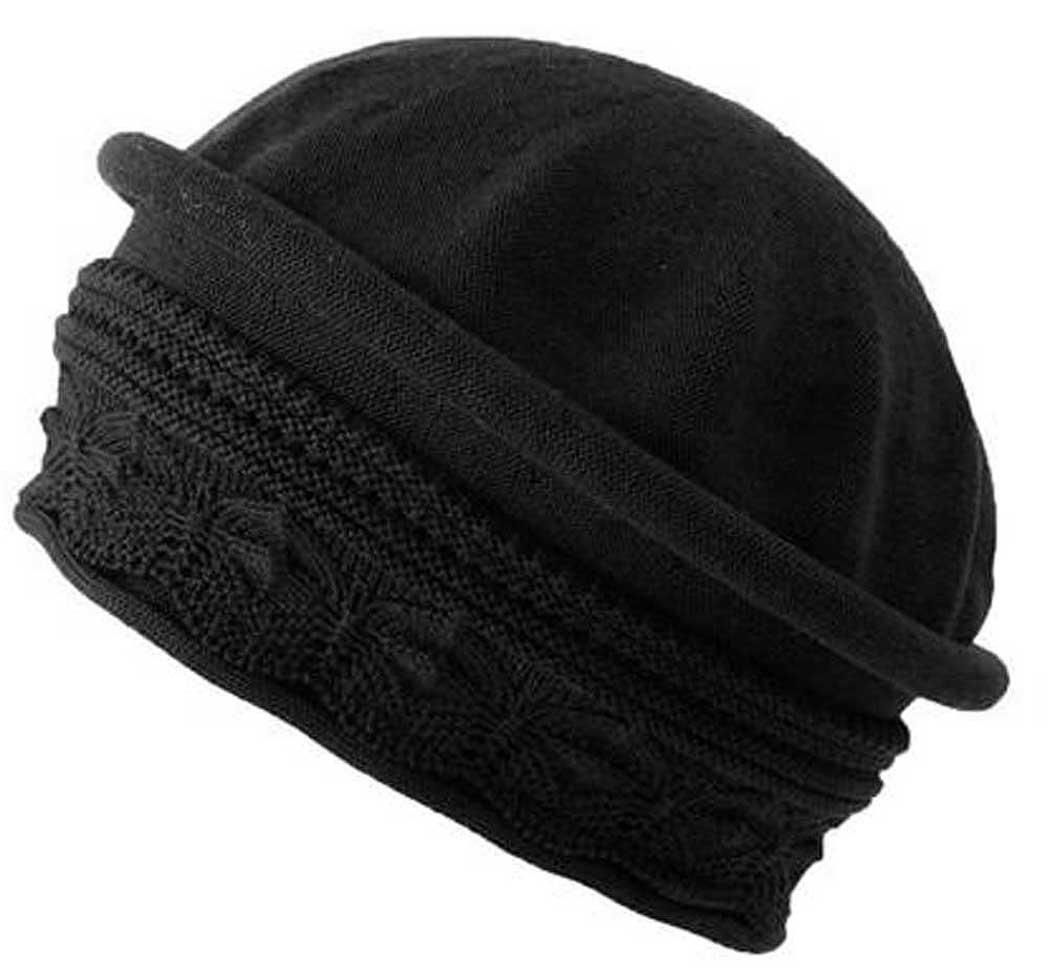Parkhurst Cotton Knit Pointelle Beret Topper (Black)