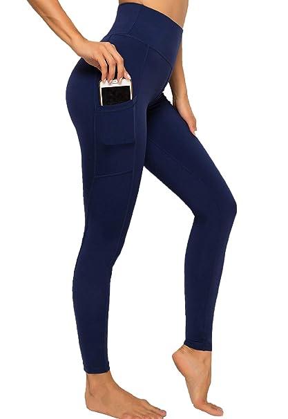 FITTOO Leggings Mallas Mujer Pantalones Deportivos Yoga Alta Cintura Elásticos y Transpirables 2050 Azul Chica
