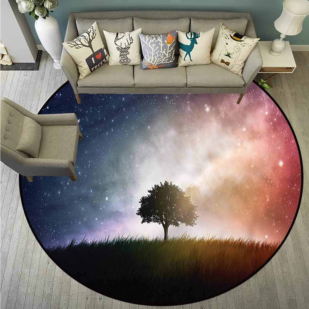 Round Rugs,Space,Tree in Field with Stars,Large Area mat,4'3""