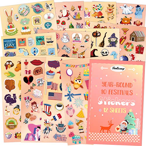 HORIECHALY Holiday Stickers Sheets,Seasonal Year-Round Art Planner Stickers for Scrapbook Calendar, 12 Sheets with 10 Festivals, Birthday, Fathers' Day, Mothers' Day, Valentine's Day Easter, Thanksgi